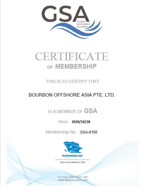 Bourbon Offshore GSA Cert