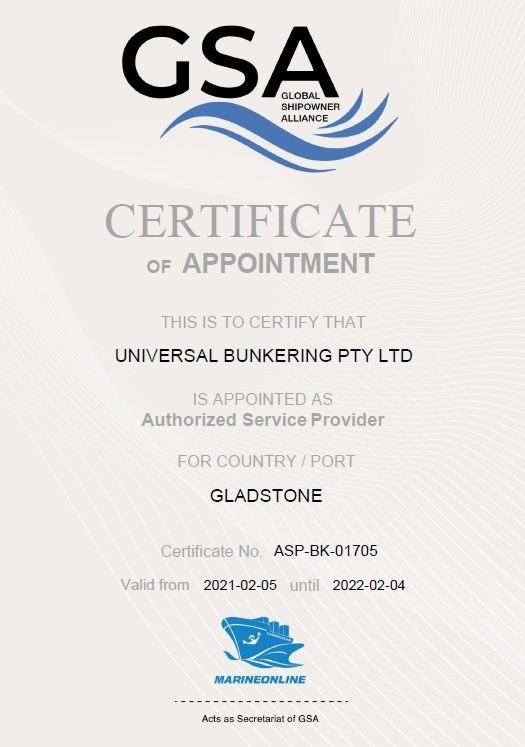 Universal Bunkering ASP cert